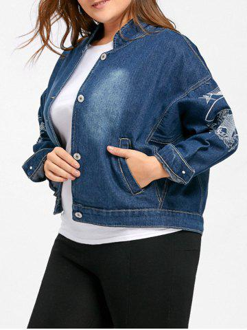 Store Plus Size Denim Star Embroidered Jacket - 4XL DENIM BLUE Mobile
