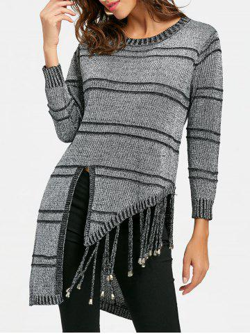 Crew Neck Fringed High Low Tunic Sweater