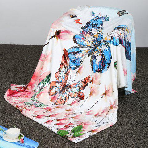 Cheap Soft Flowers Butterfly Pattern Coral Fleece Blanket COLORFUL W59 INCH*L47 INCH