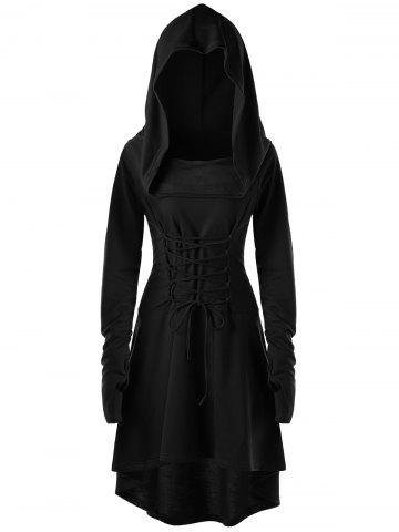 Sale Hooded Lace Up High Low Dress - M BLACK Mobile