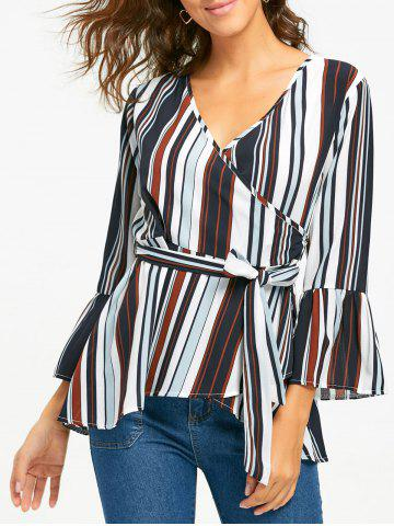 Fashion Bell Sleeve Striped Surplice Blouse - S STRIPE Mobile