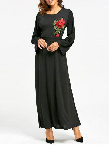 Fancy Embroidered Maxi Dress - L BLACK Mobile