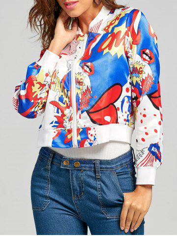 Sale Printed Cropped Graphic Bomber Jacket - L MULTI Mobile