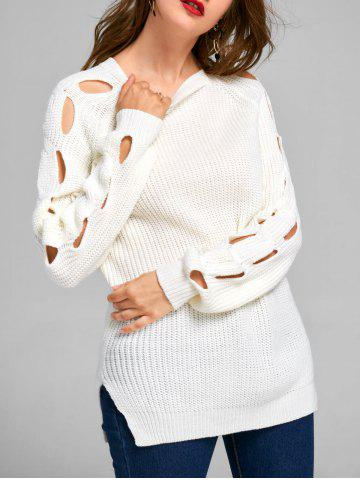 Drop Shoulder Cable Knit Frayed Sweater