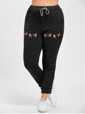 Trendy Plus Size Drawstring Cartoon Embroidered Jogger Pants