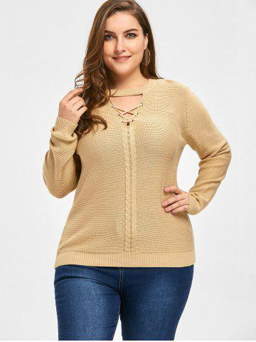 Plus Size Cable Knit Criss Cross Sweater