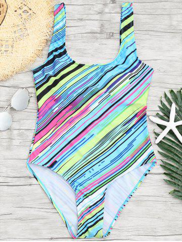 New One Piece Open Back Striped Swimsuit