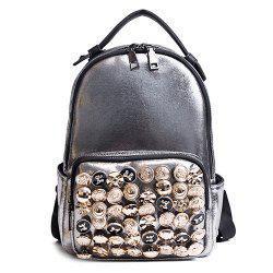 Side Pouch Faux Leather Studded Backpack - CHAMPAGNE