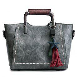 Five Pointed Star Hanging Tassels Satchel - Gris