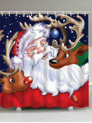 Santa Claus Reindeer Waterproof Christmas Shower Curtain -