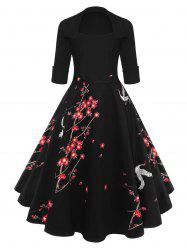 Floral Blossom Rockabilly Style Vintage Swing Dress -