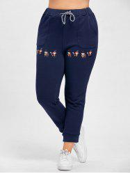 Plus Size Drawstring Cartoon Embroidered Jogger Pants - PURPLISH BLUE 4XL