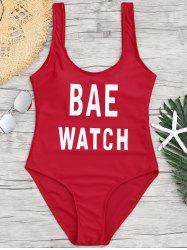 One Piece Letter Print Backless Swimsuit - Rouge S
