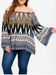 Ethnic Off Shoulder Bell Sleeve Plus Size Blouse -
