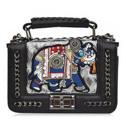 Embroidered Chain Strap Crossbody Bag with Top Handle -