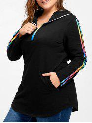 Plus Size Rainbow Striped Hooded Tee - Black - 4xl