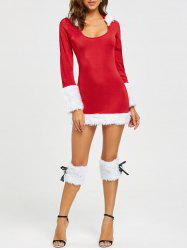 Hooded Faux Fur Trim Christmas Costume - RED ONE SIZE