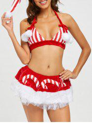 Striped Plush Christmas Costume Outfit -