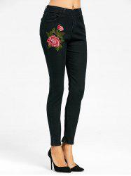 Floral Embroidered Skinny Zipper Fly Jeans - BLACK M