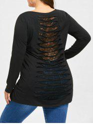 Halloween Plus Size Ripped Skull Top -