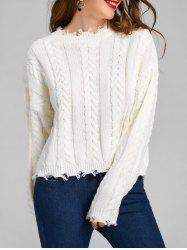 Cable Knit Drop Shoulder Frayed Sweater -