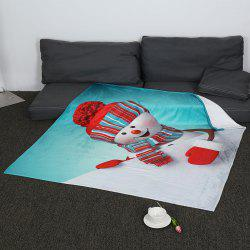 Christmas Snowman Pattern Soft Coral Fleece Blanket - COLORFUL W59 INCH*L47 INCH
