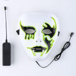 EL Wire Clignotant Halloween Cosplay Creepy Mask - Fluorescent Yellow