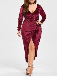 High Low Velvet Plus Size Bodycon Tea Length Dress -