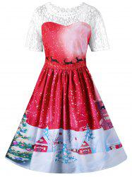 Vintage Christmas Graphic Lace Yoke Swing Dress -