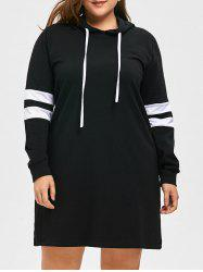 Plus Size Longline Striped Hoodie -