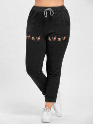 Plus Size Drawstring Cartoon Embroidered Jogger Pants -