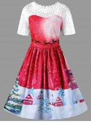 Christmas Plus Size Lace Yoke Vintage Swing Dress -