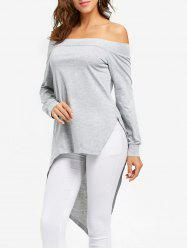 High Low Split Off the Shoulder Tunic T-shirt -