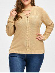 Plus Size Cable Knit Criss Cross Sweater -