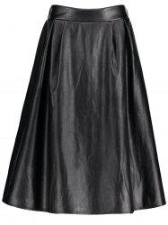 Midi Faux Leather Plus Size Skirt -