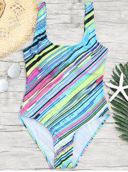 One Piece Open Back Striped Swimsuit -