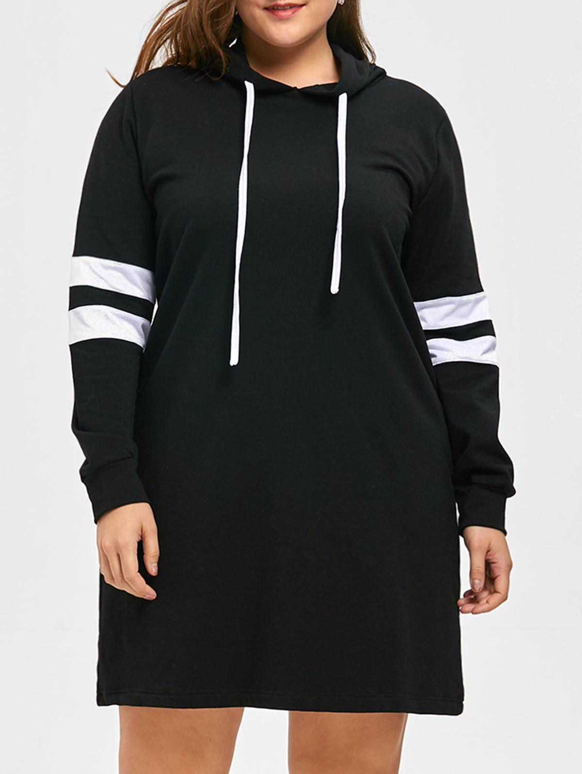 Plus Size Longline Striped HoodieWOMEN<br><br>Size: XL; Color: BLACK; Material: Cotton,Polyester; Shirt Length: Long; Sleeve Length: Full; Style: Casual; Pattern Style: Striped; Season: Fall,Spring; Weight: 0.5500kg; Package Contents: 1 x Hoodie;