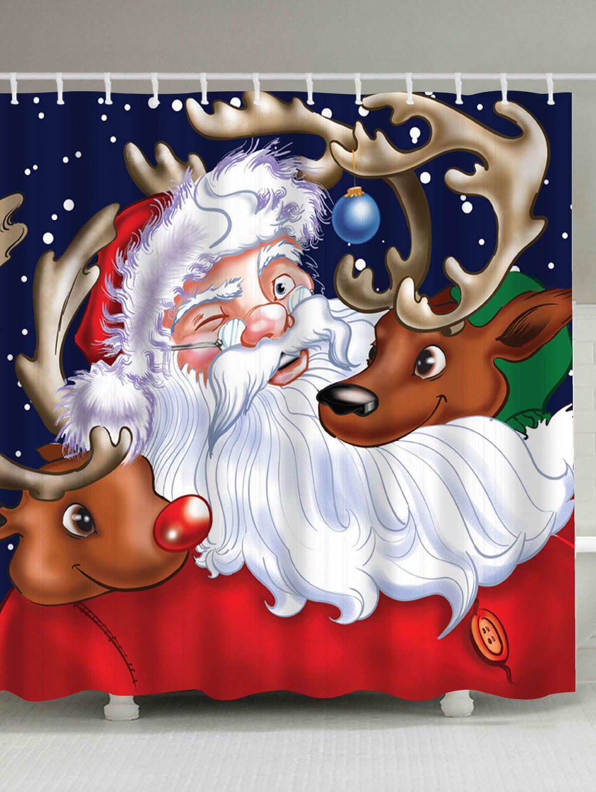 Santa Claus Reindeer Waterproof Christmas Shower CurtainHOME<br><br>Size: W71 INCH * L71 INCH; Color: COLORMIX; Products Type: Shower Curtains; Materials: Polyester; Pattern: Animal,Santa Claus; Style: Festival; Number of Hook Holes: W59 inch*L71 inch: 10; W71 inch*L71 inch: 12; W71 inch*L79 inch: 12; Package Contents: 1 x Shower Curtain 1 x Hooks (Set);