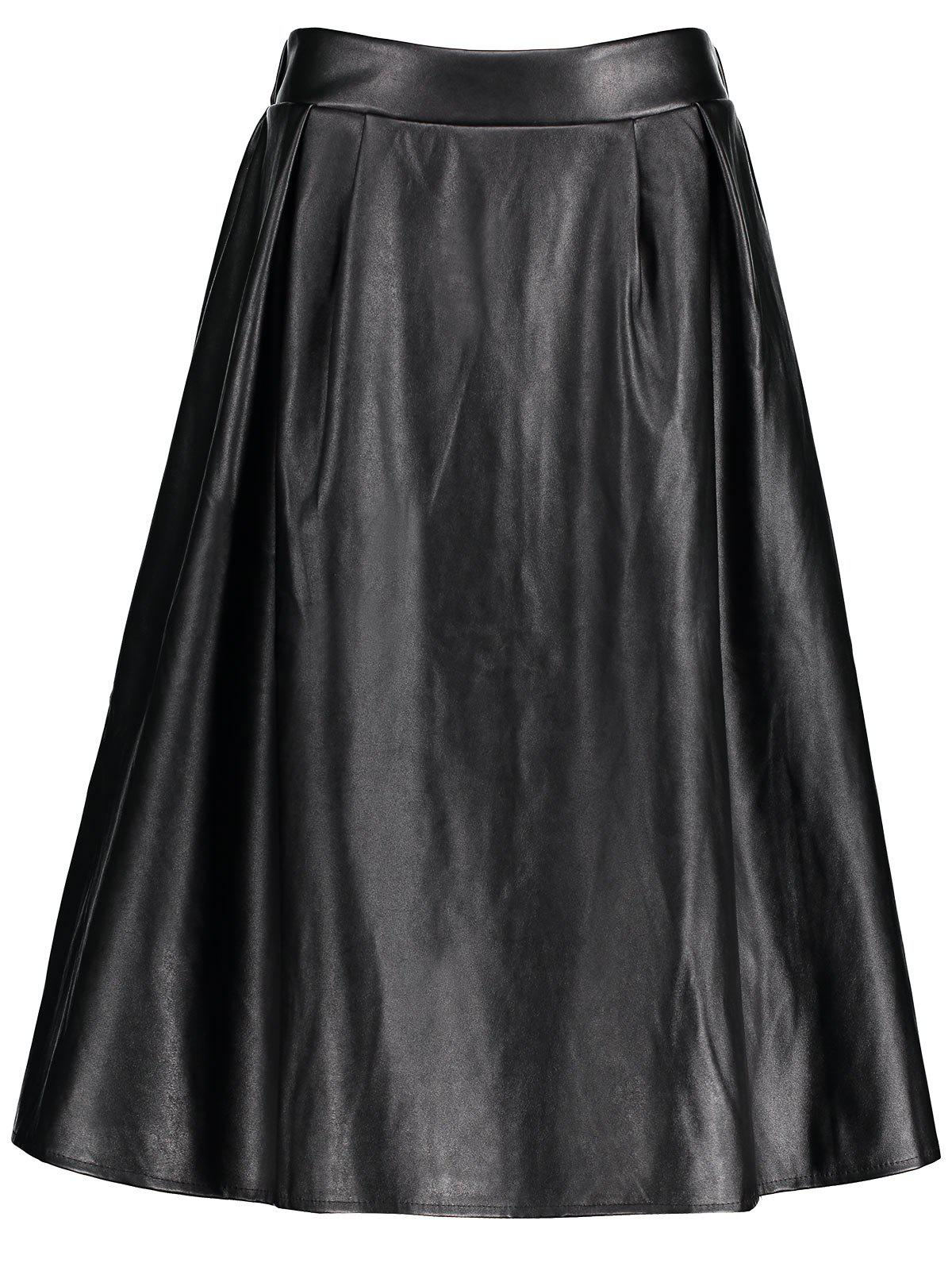 Midi Faux Leather Plus Size SkirtWOMEN<br><br>Size: 2XL; Color: BLACK; Material: Cotton,Polyester,PU; Length: Mid-Calf; Silhouette: A-Line; Pattern Type: Solid; Season: Fall,Spring; Weight: 0.5150kg; Package Contents: 1 x Skirt;