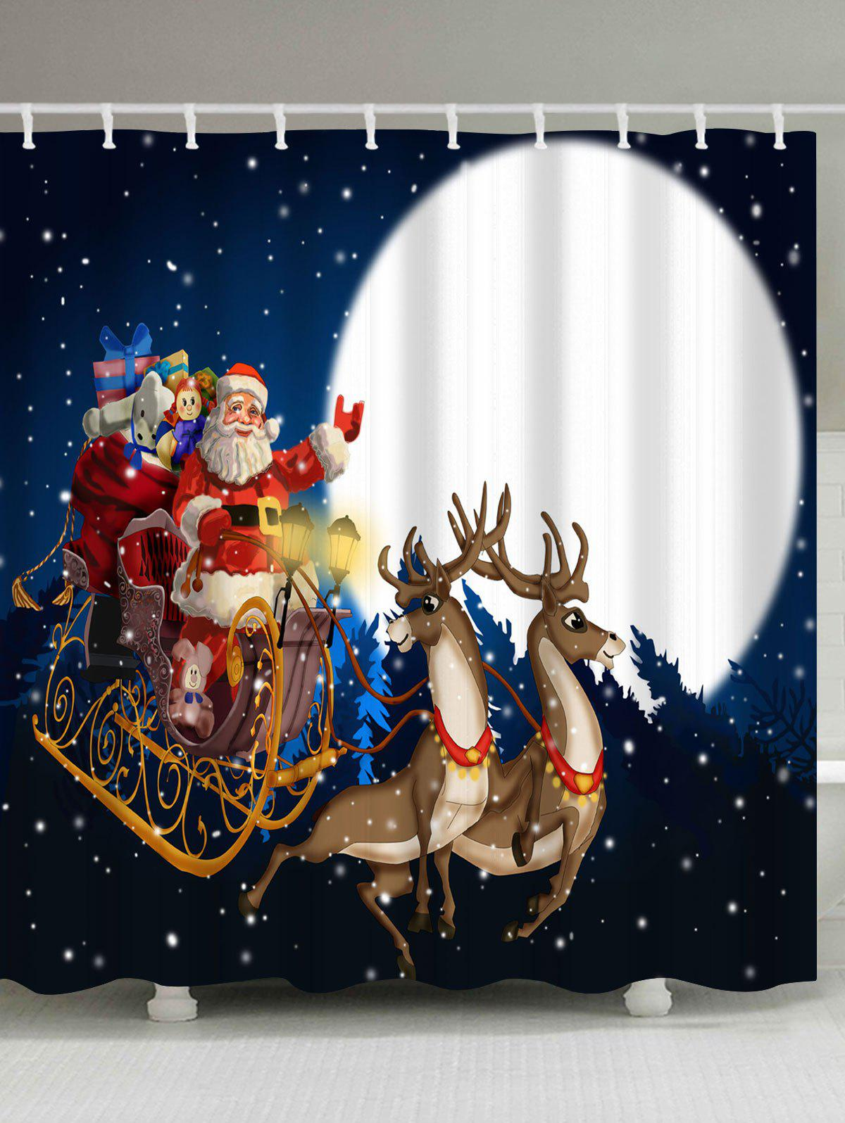 Christmas Sled Moon Night Waterproof Shower CurtainHOME<br><br>Size: W59 INCH * L71 INCH; Color: BLUE; Products Type: Shower Curtains; Materials: Polyester; Pattern: Elk,Moon,Santa Claus; Style: Festival; Number of Hook Holes: W59 inch*L71 inch: 10; W71 inch*L71 inch: 12; W71 inch*L79 inch: 12; Package Contents: 1 x Shower Curtain 1 x Hooks (Set);