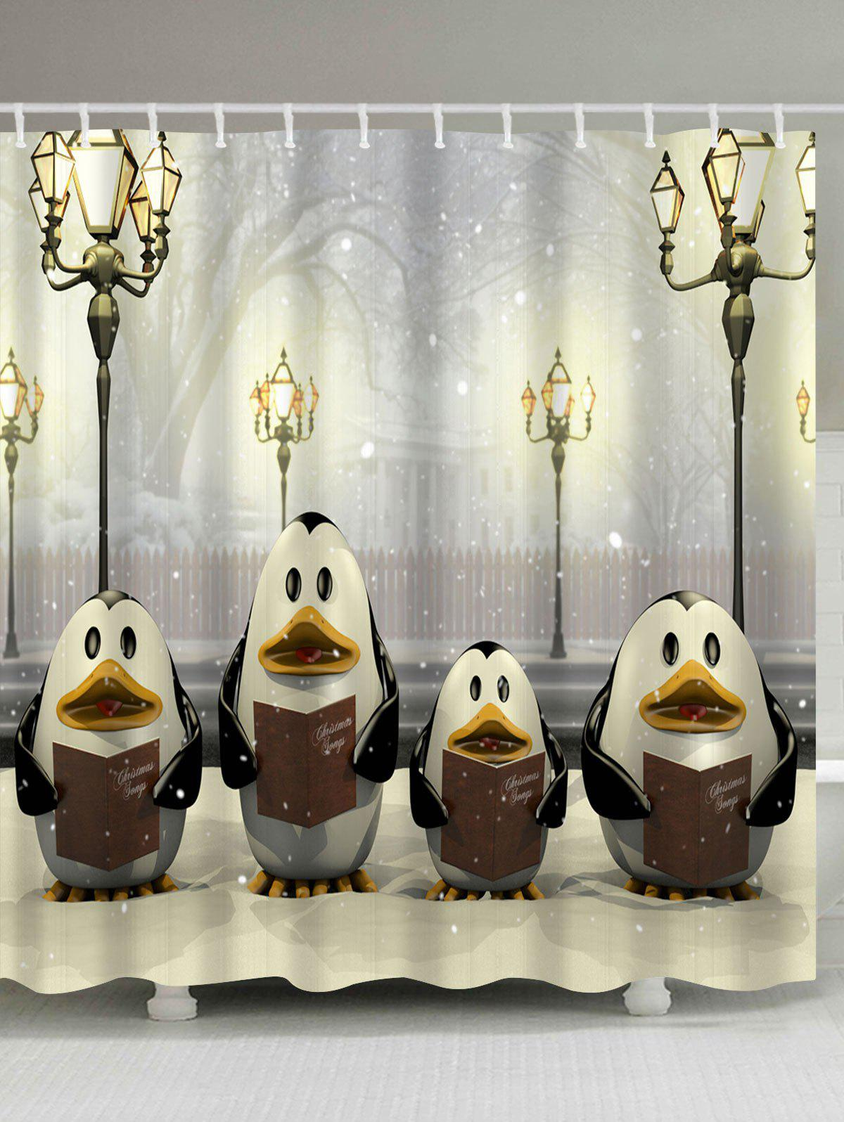 Christmas Street Lamp Penguin Waterproof Shower CurtainHOME<br><br>Size: W71 INCH * L79 INCH; Color: LIGHT YELLOW; Products Type: Shower Curtains; Materials: Polyester; Pattern: Animal; Style: Festival; Number of Hook Holes: W59 inch*L71 inch: 10; W71 inch*L71 inch: 12; W71 inch*L79 inch: 12; Package Contents: 1 x Shower Curtain 1 x Hooks (Set);