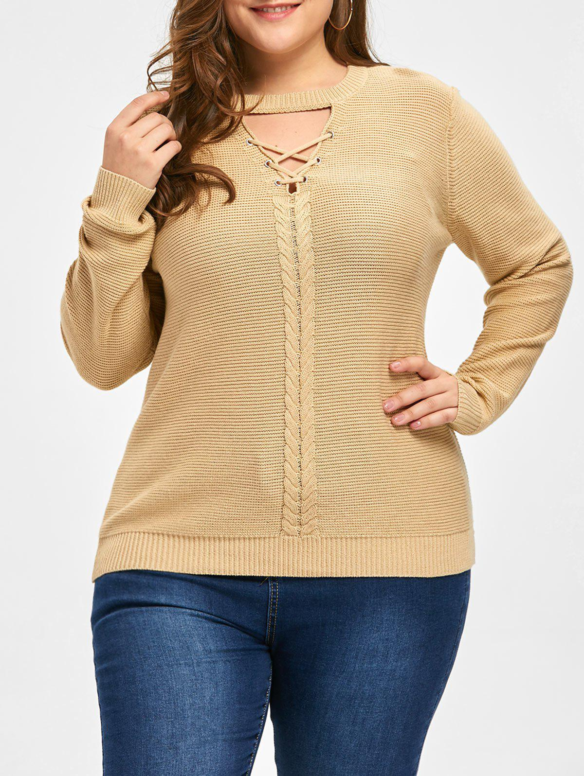Best Plus Size Cable Knit Criss Cross Sweater