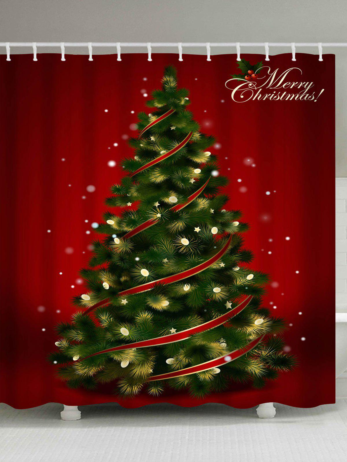 Polyester Waterproof Christmas Tree Print Bath CurtainHOME<br><br>Size: W71 INCH * L71 INCH; Color: RED; Products Type: Shower Curtains; Materials: Polyester; Pattern: Christmas Tree; Style: Festival; Number of Hook Holes: W59 inch*L71 inch: 10; W71 inch*L71 inch: 12; W71 inch*L79 inch: 12; Package Contents: 1 x Shower Curtain 1 x Hooks (Set);
