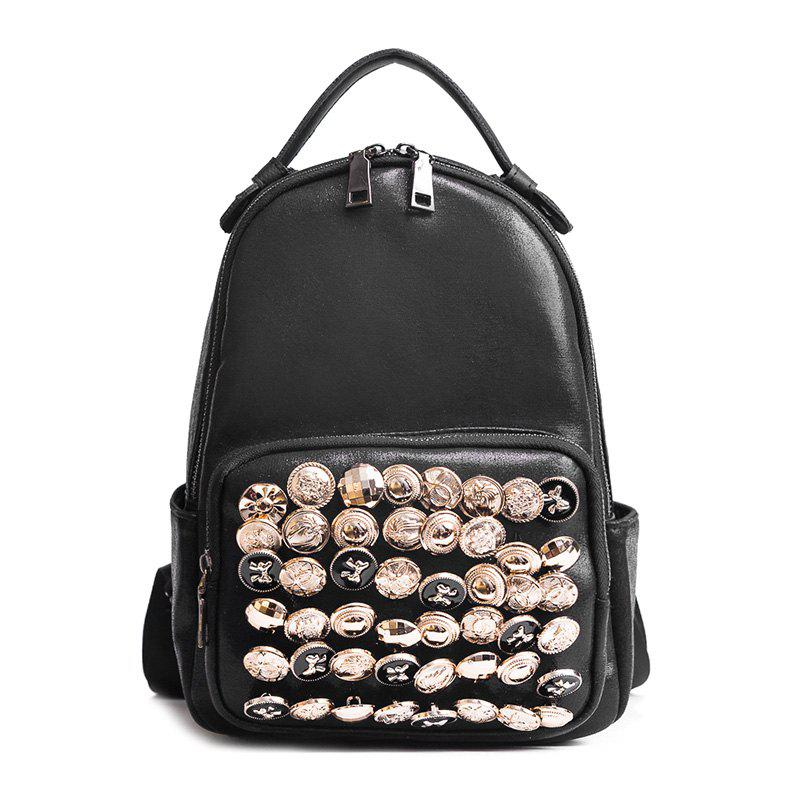 Fancy Side Pouch Faux Leather Studded Backpack