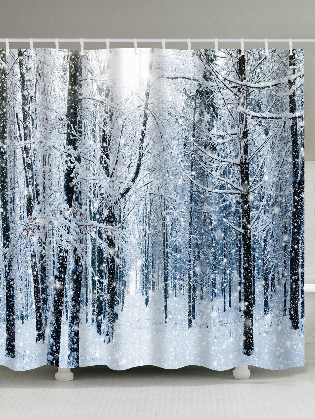 2019 christmas snow forest printed waterproof shower curtain. Black Bedroom Furniture Sets. Home Design Ideas
