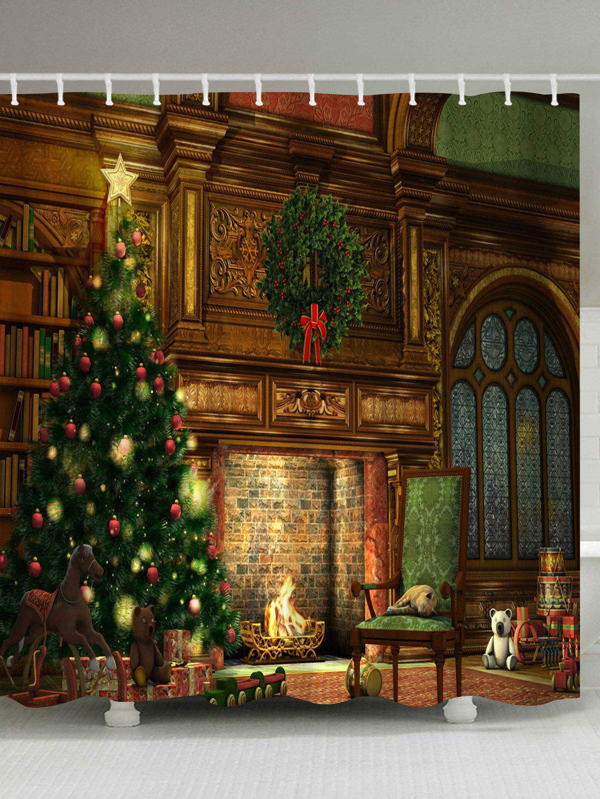 Christmas Fireplace Printed Waterproof Shower CurtainHOME<br><br>Size: W71 INCH * L71 INCH; Color: BROWN; Products Type: Shower Curtains; Materials: Polyester; Pattern: Christmas Tree; Style: Festival; Number of Hook Holes: W59 inch*L71 inch: 10; W71 inch*L71 inch: 12; W71 inch*L79 inch: 12; Package Contents: 1 x Shower Curtain 1 x Hooks (Set);