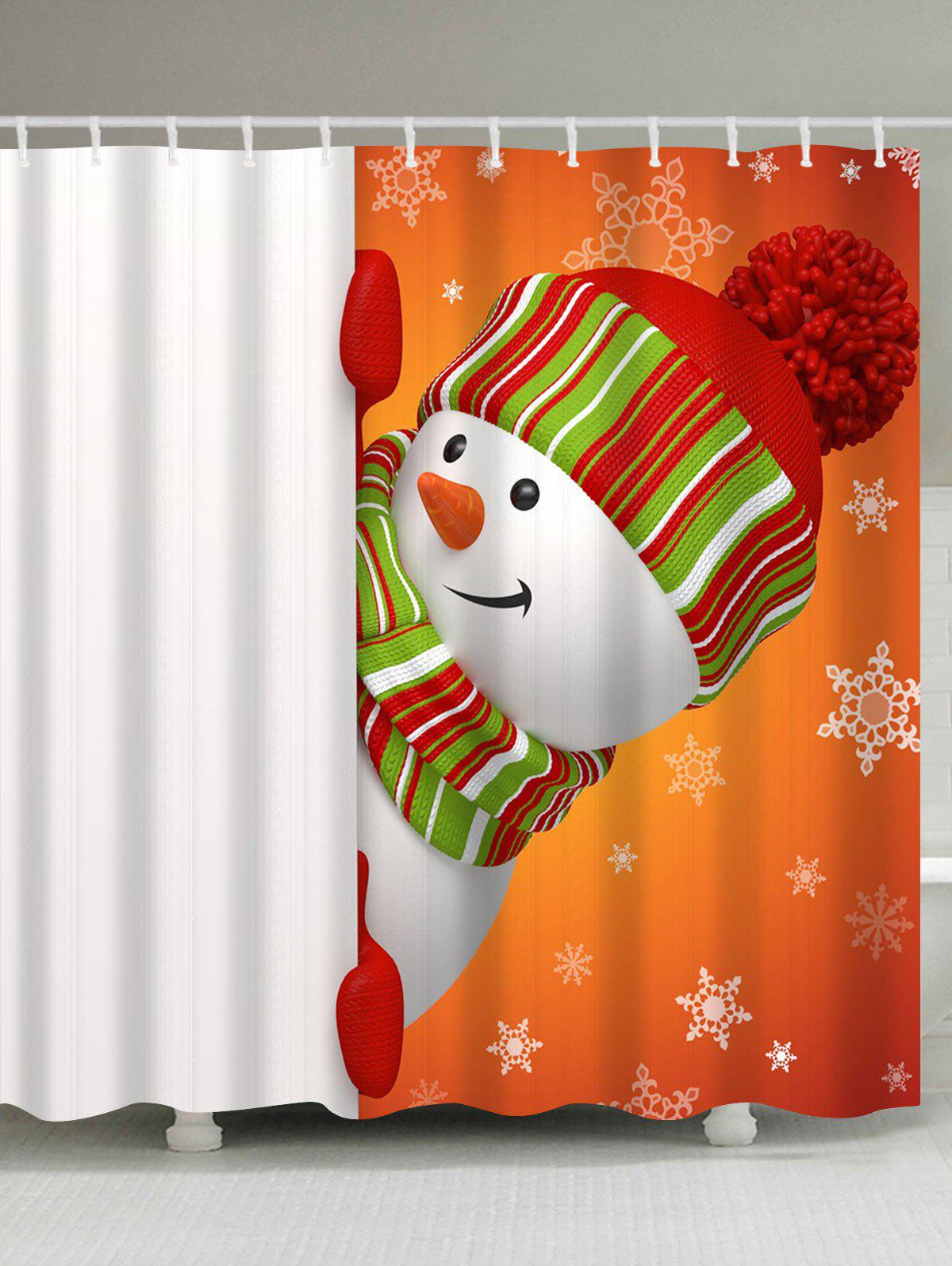 Waterproof Christmas Naughty Snowman Bath CurtainHOME<br><br>Size: W71 INCH * L79 INCH; Color: WHITE AND ORANGE; Products Type: Shower Curtains; Materials: Polyester; Pattern: Snowman; Style: Festival; Number of Hook Holes: W59 inch*L71 inch: 10; W71 inch*L71 inch: 12; W71 inch*L79 inch: 12; Package Contents: 1 x Shower Curtain 1 x Hooks (Set);