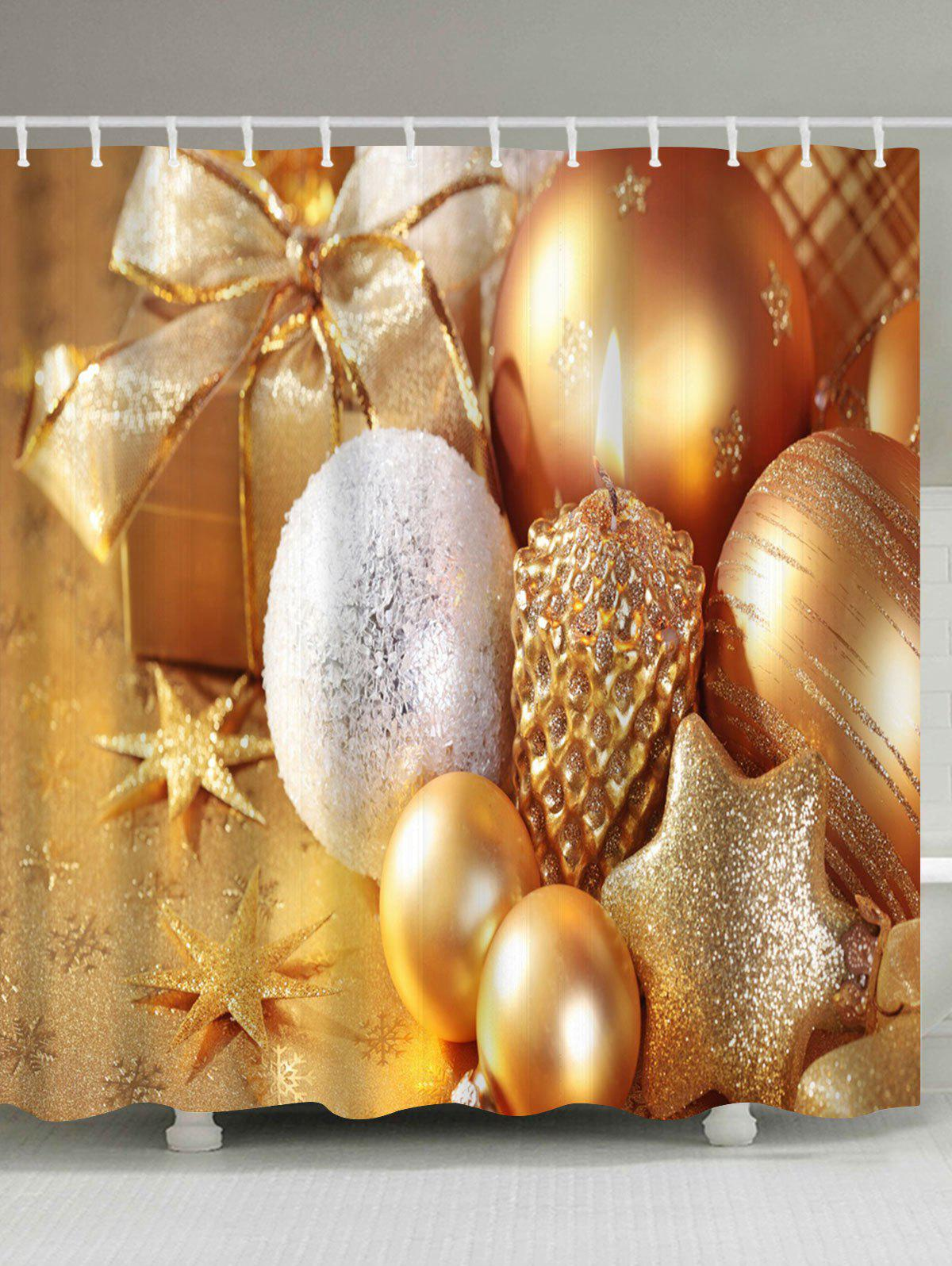 Waterproof Christmas Candle Ornaments Shower CurtainHOME<br><br>Size: W71 INCH * L79 INCH; Color: GOLDEN; Products Type: Shower Curtains; Materials: Polyester; Style: Festival; Number of Hook Holes: W59 inch*L71 inch: 10; W71 inch*L71 inch: 12; W71 inch*L79 inch: 12; Package Contents: 1 x Shower Curtain 1 x Hooks (Set);