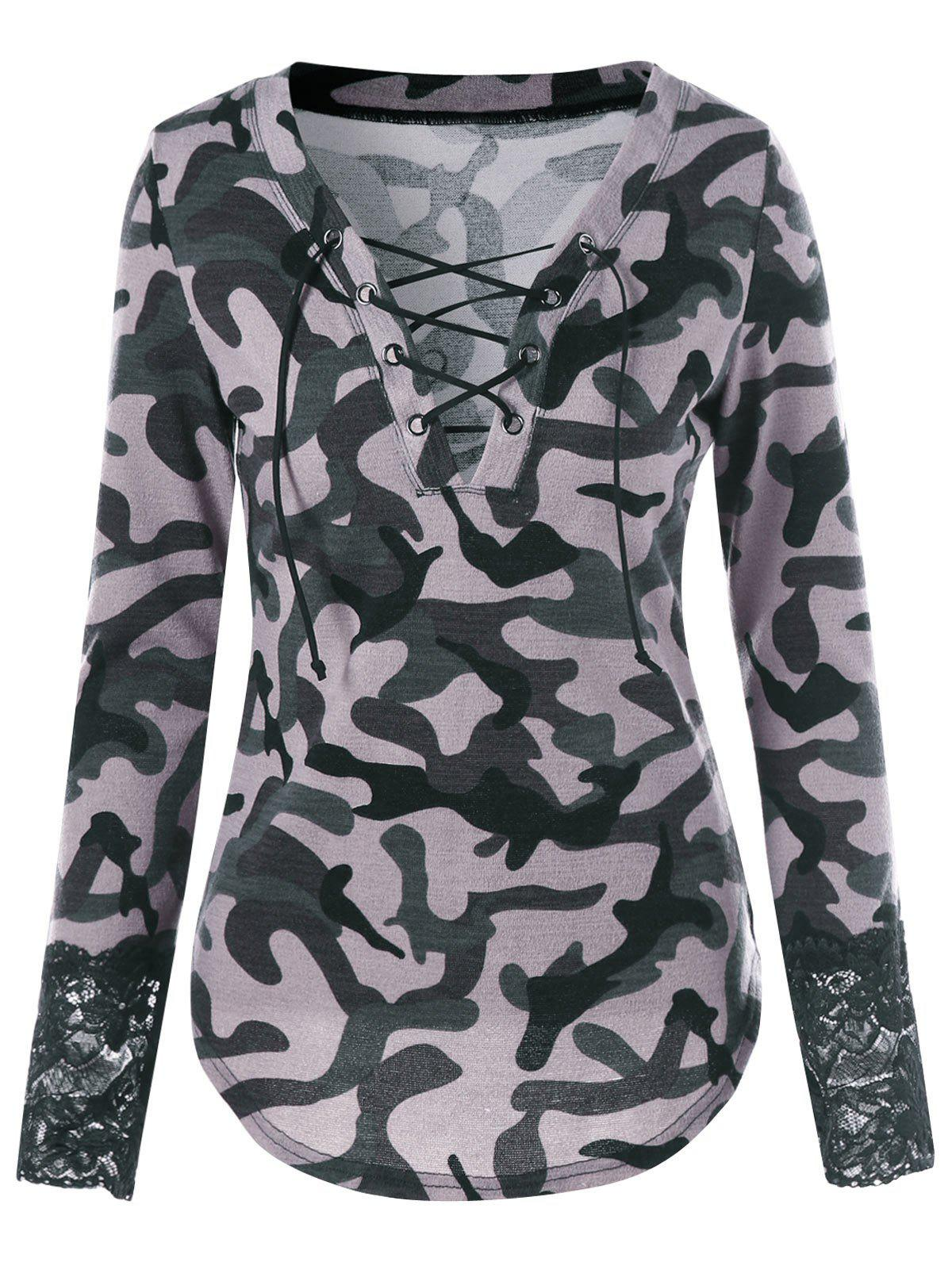 Lace Up Plunging Camouflage T-shirtWOMEN<br><br>Size: XL; Color: ACU CAMOUFLAGE; Material: Polyester,Spandex; Shirt Length: Regular; Sleeve Length: Full; Collar: Plunging Neck; Style: Fashion; Embellishment: Criss-Cross,Lace; Pattern Type: Camouflage; Season: Fall,Spring; Weight: 0.2650kg; Package Contents: 1 x T-shirt;