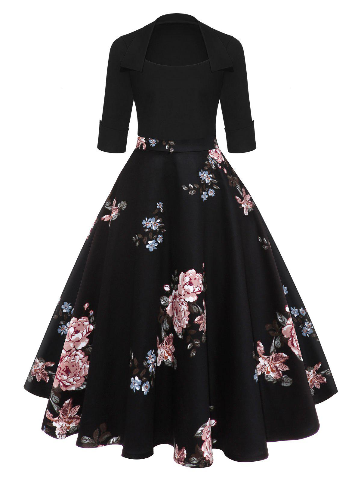 Vintage Floral Midi Flare DressWOMEN<br><br>Size: XL; Color: BLACK; Style: Vintage; Material: Cotton Blend,Polyester; Silhouette: Ball Gown; Dresses Length: Mid-Calf; Neckline: Square Collar; Sleeve Length: 3/4 Length Sleeves; Pattern Type: Floral,Print; With Belt: No; Season: Fall,Winter; Weight: 0.4000kg; Package Contents: 1 x Dress;